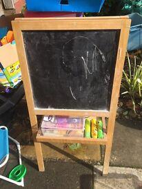 Kids blackboard easel and chalks