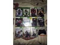 11 Xbox 360 games & wireless controller