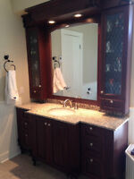 Wood Vanity with double medicine cabinet and mirrow