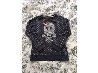 Skull with Bow Sweatshirt - 5-6 years