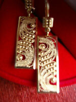 EUROPEAN GOLD FILIGREE DANGLE EARRINGS