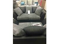 Byron 3 and 2 sofas black and grey - delivered same day