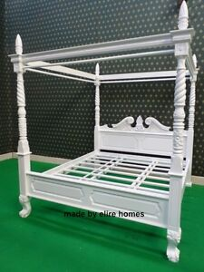 Uk Super King White Queen Anne Style Four Poster St James