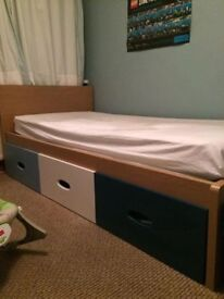 Kids Single Bed with Large Storage Drawers