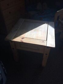 Two solid wood tables.