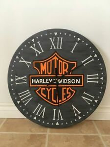 "24"" Hand Painted Farmhouse Harley Davidson Clock"