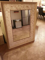 GORGEOUS WOOD TAUPE COLOR MIRROR WITH ANGEL BORDER