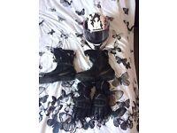 Women's bike helmet, boots, gloves