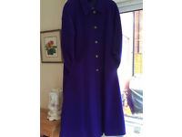 ALEXON FULL LENGTH WOOLLEN LADIES COAT 12/14 PURPLE 88%WOOL/LAINE -AS NEW