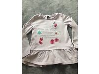Girls pink Christmas top age 3-4 clothes