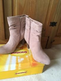 Pink suede ankle boots size 7