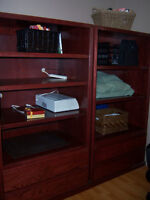 DESK-2 WALL UNITS-CUSTOM CHERRY STAINED SOLID OAK