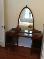 ART DECO mirrored pedestal walnut veneer dressing table vanity