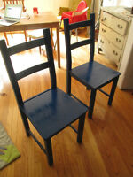 Dining Chairs Ikea painted in blue