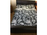 Black double leather bed for sale