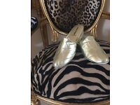 Ladies gold leather slippers