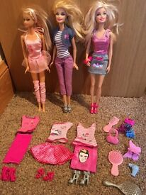 x3 Barbies with extra clothes and accessories
