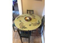 Peacock table and 4x chairs