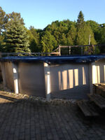 24 foot round above ground pool with resin posts