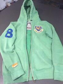 Superdry hooded zip up top size XS