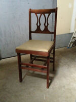 Six VINTAGE wooden folding chairs and Two card tables