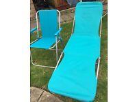 Garden chair + sun lounger- blue