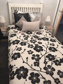 Argos white wooden single bed & mattress brand new