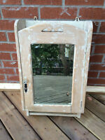 VINTAGE MEDICINE VANITY CABINET WITH MIRROR SOLID WOOD