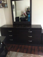 Black Dresser with Mirror and Match Night stand Only for $150
