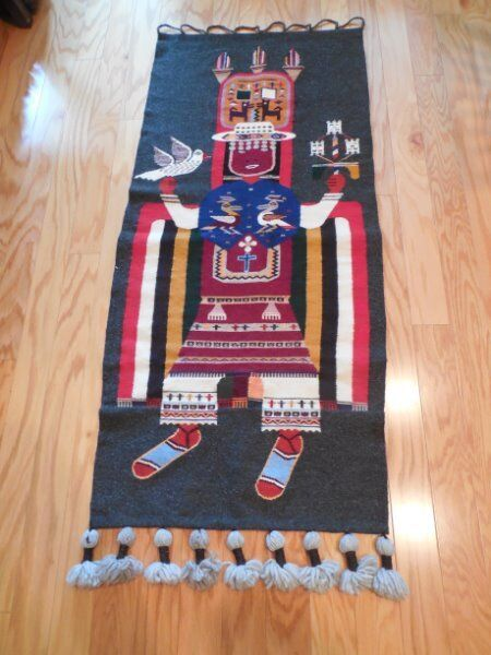 Vintage Wool INDIAN Figural Textile Hanging Wall Art Religious Ceremony 5