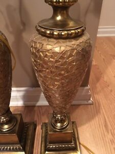 A pair of gold table lamps London Ontario image 2