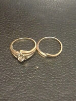 14 Kgold and diamonds engagement and wedding rings set