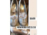 Size 5 occasion silver ladies heels new in box