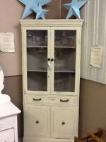 Corner cabinet, decked out in sea glass chalk paint, beautiful