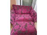 Marks & Spencer Brown & Pink Love Chair and matching Footstall