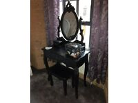 Black French style dressing table with mirror and stool