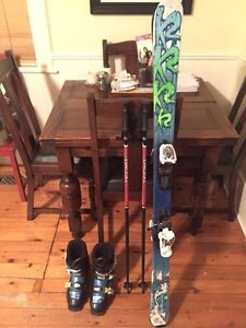K2 skis with boots and poles