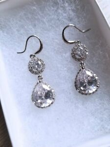 Silver Teardrop Wedding Earrings