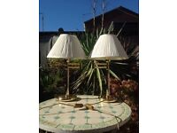 Pair Polished Brass Lamps Swing/swivel arm Lamps.