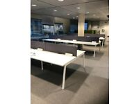 Bank Of 6 White Bench Desks With Grey Screens, 1400mm Tops