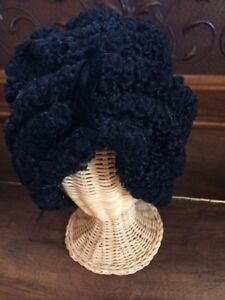 "Vintage black Persian Lamb ""turban"" Hollywood hat"