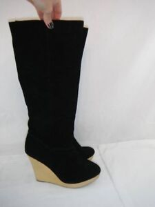 Size 8.5 Wood and Suede Wedge High Boot, Excellent Condition