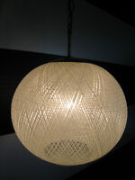 Awesome 1960's Spun Fiberglass Globe Pendant Light
