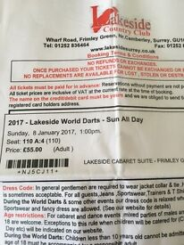 Lakeside world darts tickets X 2