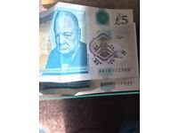2 AA new five pound notes for sale