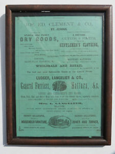 Framed Advertisment page 41 and 42 possibly from 1867?
