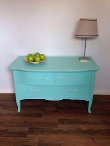 Lightly Distressed Tiffany Blue Dresser/TV Stand