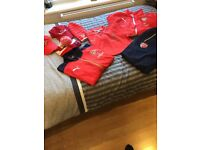 Arsenal tracksuit, bottoms, jumper, rain coat, t shirt and hats)