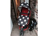Cossotto giggle pushchair, pram, car seat and car seat isofix base
