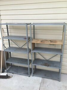 2 metal shelves